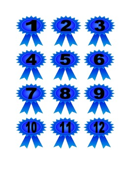 Blue Ribbon Numbers for Calendar or Counting Activity