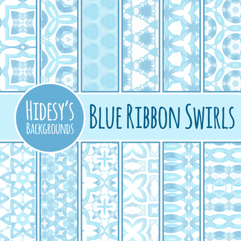 Blue Ribbon Swirls Backgrounds / Digital Paper Clip Art Set for Commercial Use