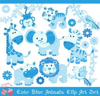 Blue Savannah Animals Clip Art Set