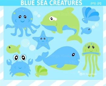 Blue Sea Creatures Clip Art