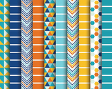 Blue Sea Digital Papers, Blue Papers, Stripe Papers, Blue Sea Paper Set #003