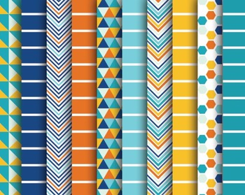 Blue Sea Digital Papers, Blue Papers, Stripe Papers, Blue