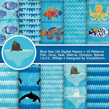 Ocean Sea Life Digital Paper, 10 Printable Ocean Patterns - Fish and Arctic