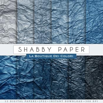 Blue Shabby Crumpled Digital Paper, scrapbook backgrounds.