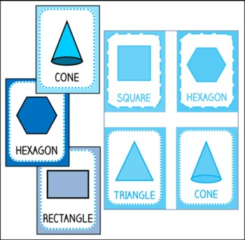 Blue Shape Posters and Flashcards, 1st grade common core