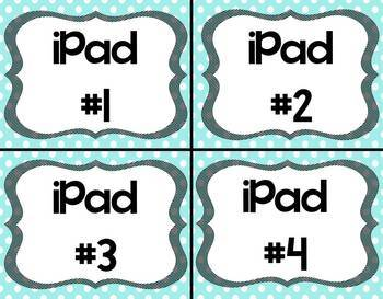 Blue Skies iPad Labels for your Classroom iPads/iPad Containers