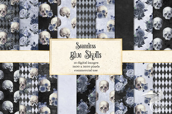 Blue Skull Digital Paper