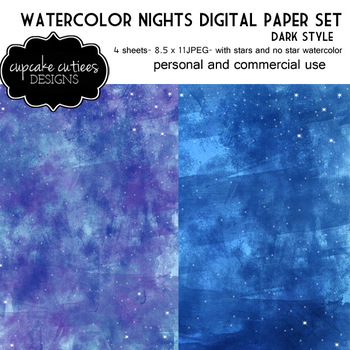 Blue Sky Dark Galaxy Watercolor Paper Digital Paper Pack 8.5 x 11 JPEG