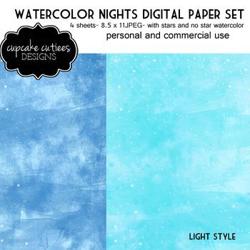 Blue Sky Light Watercolor Paper Digital Paper Pack 8.5 x 11 JPEG