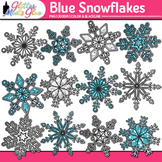 Blue Snowflake Clip Art {Weather Graphics for Winter and S