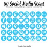 Blue Social Media Icons: Round Social Icons, 25 Popular Ic
