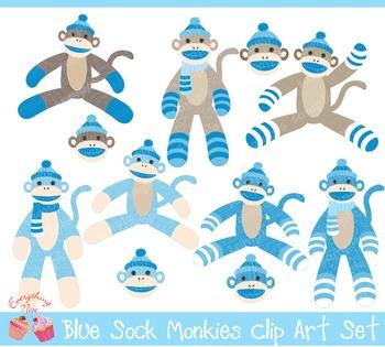 Blue Sock Monkeys Clipart Set