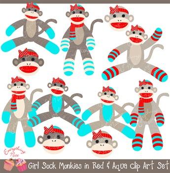 Girl Sock Monkeys in Red and Aqua Clipart Set