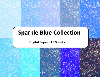 Blue Sparkles Digital Paper