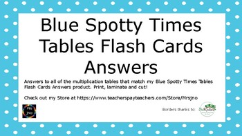Blue Spotty Times Tables Flash Cards Answers