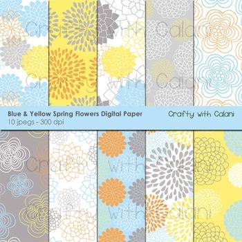 Blue Spring Flower Pattern Digital Paper Set