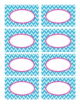 Blue Stitched Chevron and Pink Classroom Decor Labels
