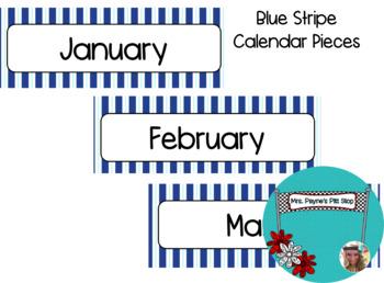 Blue Stripe Calendar Pieces