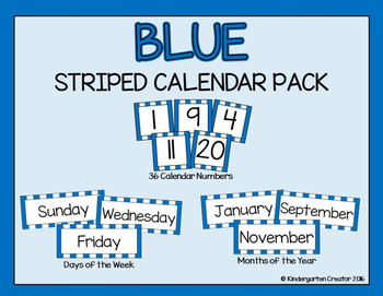 Blue Striped Calendar Pack