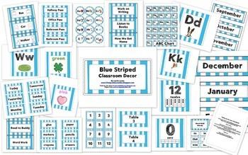 Blue Striped Classroom Decor