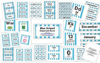 Blue Striped Classroom Decor