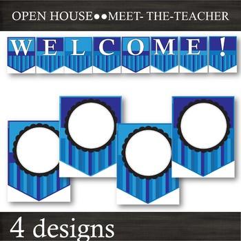 Blue Stripes -- EDITABLE Banner Pennants -- Back-to-School & Open-House