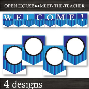 EDITABLE Banner Pennants -- Back-to-School & Open-House --Blue Stripes