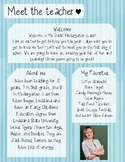 Blue Stripes Meet The Teacher Template **Editable**