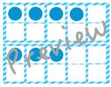 Blue Stripes Ten Frames Cards
