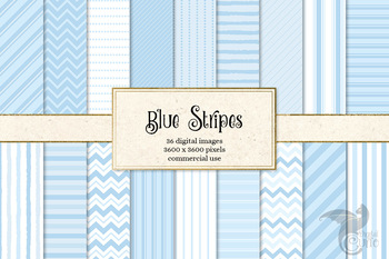 Blue Stripes digital paper and png overlays, pinstripe and chevron patterns