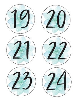 Blue Succulent Number Labels