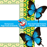 Blue Swallowtail Butterfly Clip Art — Backgrounds, Page Frames & Butterfly