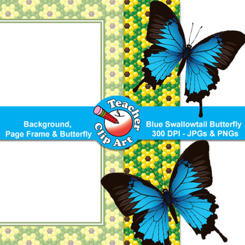 Blue Swallowtail Butterfly Clip Art — Backgrounds, Page Fr