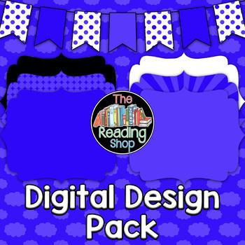 Blue Patterned Digital Papers Frames Banner