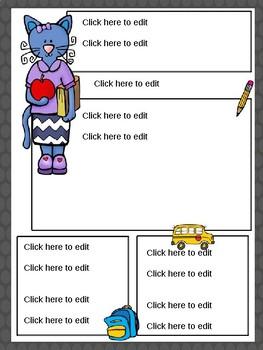 Blue Teacher Cat Editable Newsletter