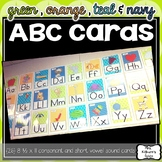 Green, Teal, Orange and Navy ABC Cards