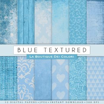 Blue Textures Digital Paper, scrapbook backgrounds.