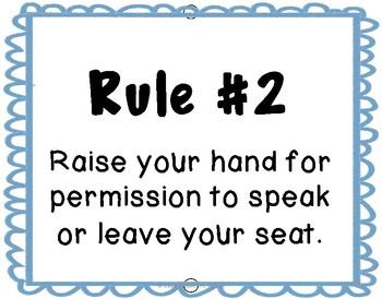 Blue Theme Classroom Rules and Behavior (editable)