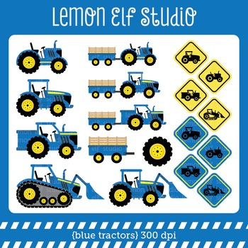 Blue Tractors-Digital Clipart (LES.CL58A)