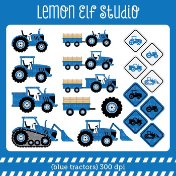 Blue Tractors-Digital Clipart (LES.CL58B)