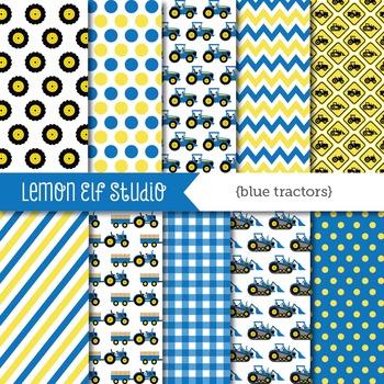 Blue Tractors-Digital Paper (LES.DP58A)