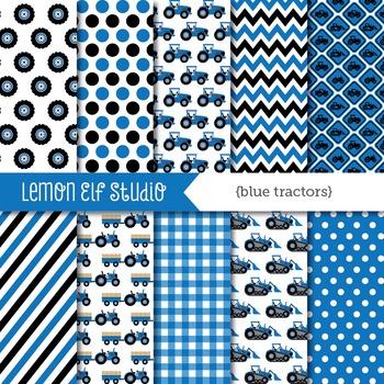 Blue Tractors-Digital Paper (LES.DP58B)