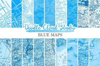 Blue Vintage Maps digital paper, Old Maps, Modern Maps, Historical Maps