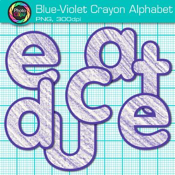 Blue-Violet Crayon Alphabet Clip Art {Great for Classroom Decor & Resources}