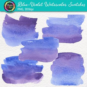Blue-Violet Watercolor Swatches Clip Art: Hand-Painted Textures {Photo Clipz}