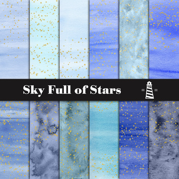 Blue Watercolor Backgrounds And Gold Stars, Starry Sky, Gold Star Patterns