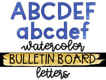 Blue Watercolor Bulletin Board Letters