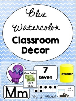 Blue Watercolor Classroom Decor and Organization Pack (Editable)