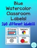 Blue Watercolor Classroom Labels