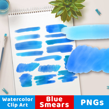 Blue Watercolor Clipart- Smears, Watercolor Clipart Blue Strokes, PNGs